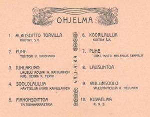 R.y. Koiton raittiusjuhlan ohjelma vuodelta 1908.
